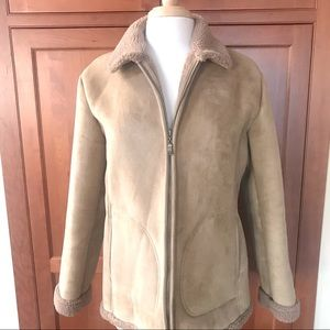 Faux Suede Faux Fur Lined And Trimmed Coat Jacket